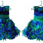Blue-green Dress made of Recycled Plastic Bags