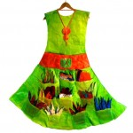 Green Dress What is your Story (front) made of Recycled Plastic Bags